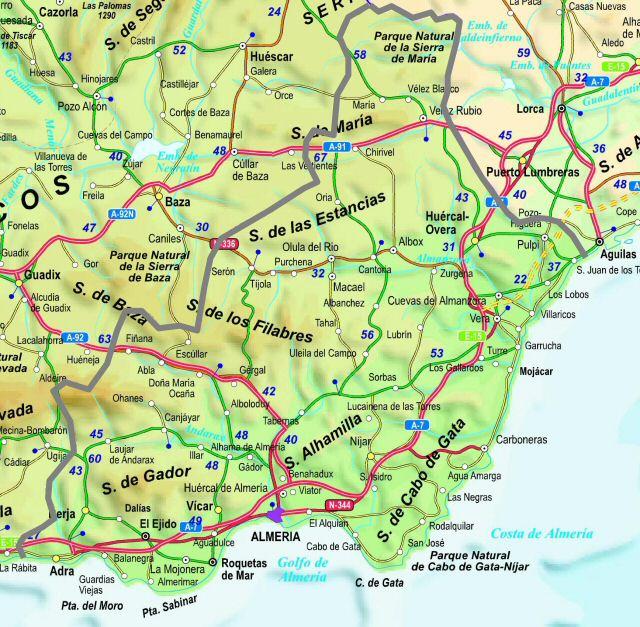 Mapa de la provincia de Almeria