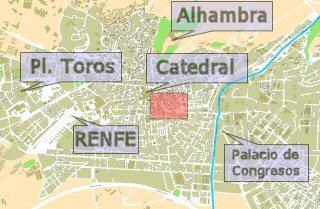 Situaci�n de Puerta Real en Granada Capital